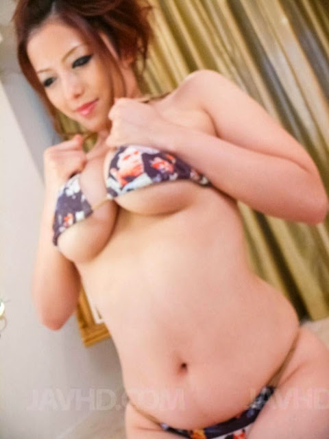 Japanese big boobs Meisa Hanai play with three dicks at the same time image 1