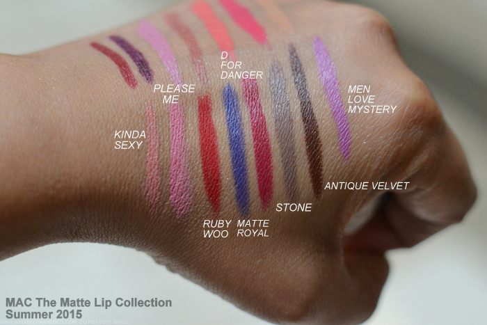 MAC The Matte Lipstick Collection Summer 2015 Swatches Kinda Sexy Please Me Ruby Woo Matte Royal D For Danger Stone Antique Velvet Men Love Mystery