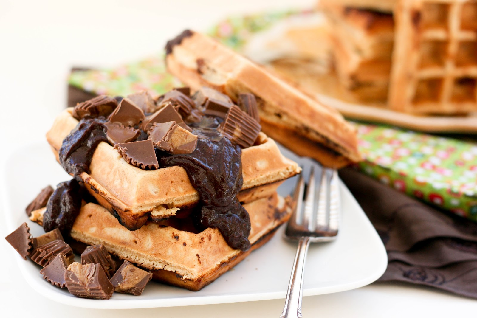 Reese's Peanut Butter Chocolate Waffles | Krissy's Creations