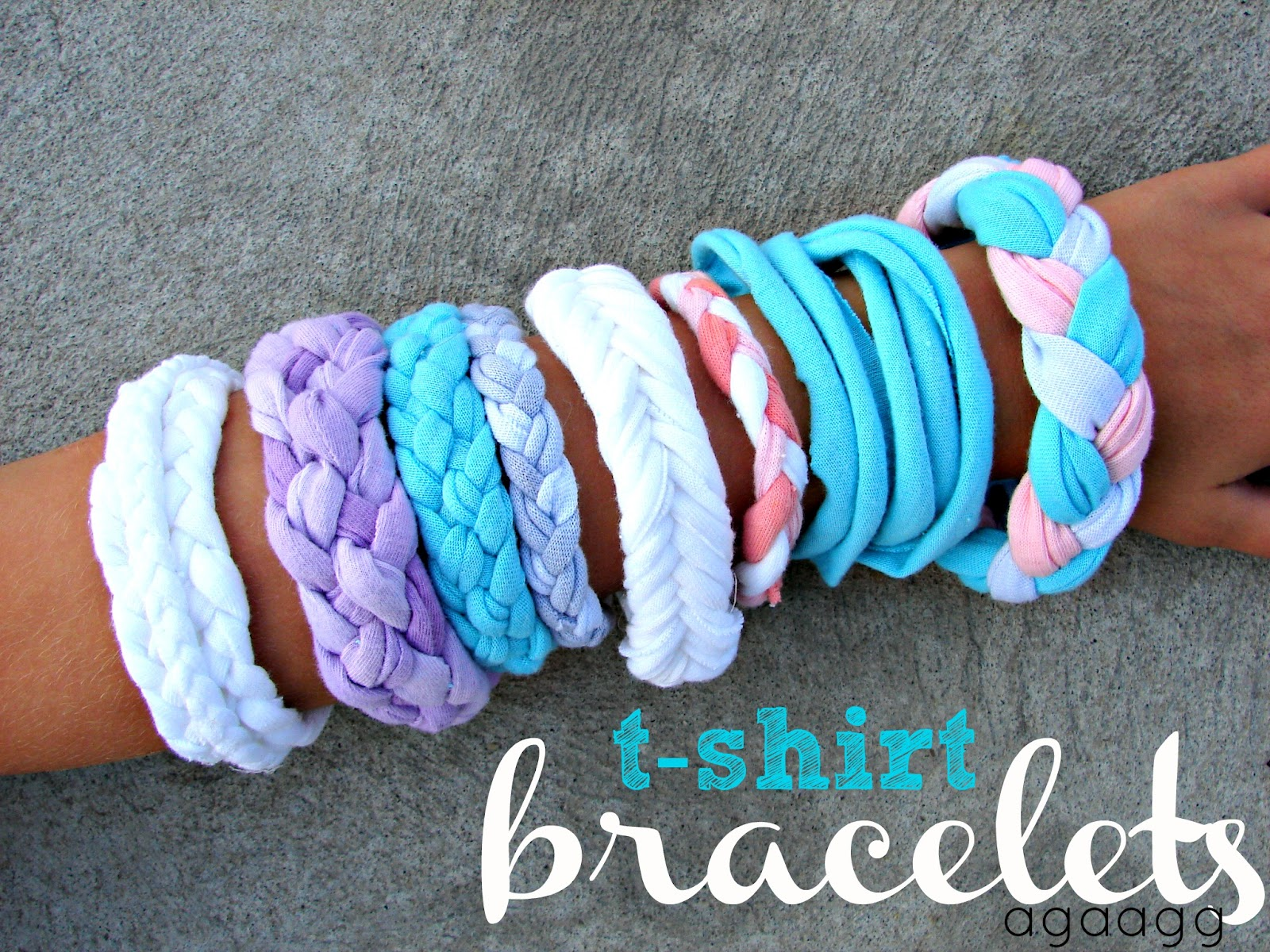 A girl and a glue gun t shirt bracelet kid craft monday for Craft ideas for old t shirts