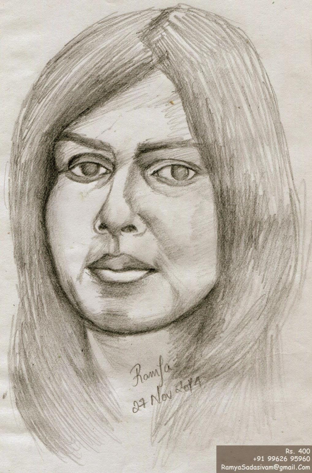 Pencil sketch of bollywood actress genelia dsouza