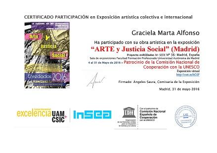 """Certificado de Participación """"Arte y Justicia Social"""" Proyecto ENREDADAS, Madrid"""