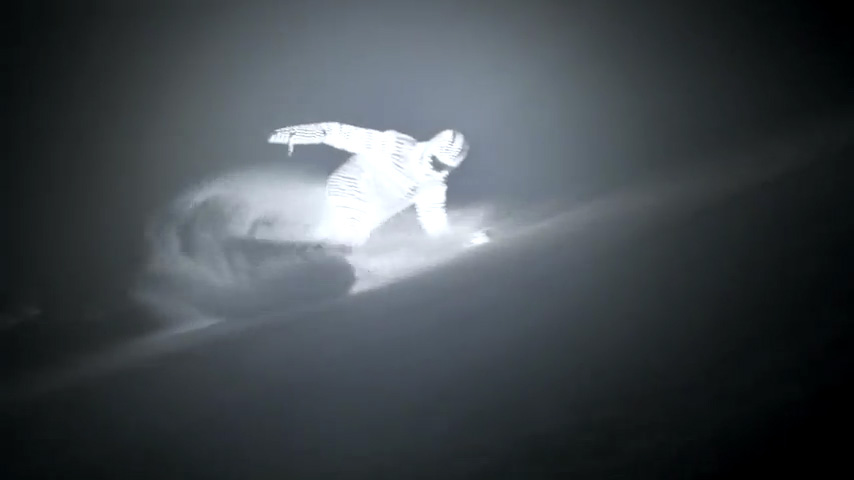 LED suit makes for ethereal snowboarding
