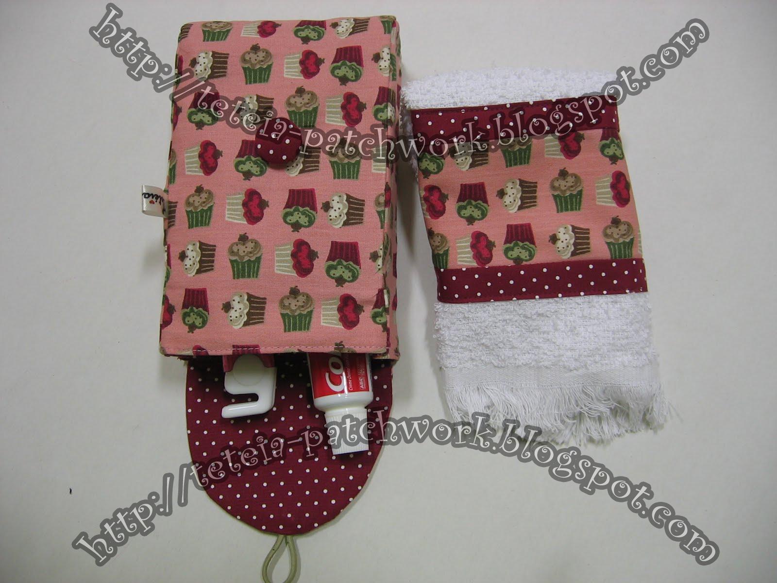 Tetéia Patchwork: Kit higiene bucal_cupcakes rosa/vinho - cod 56