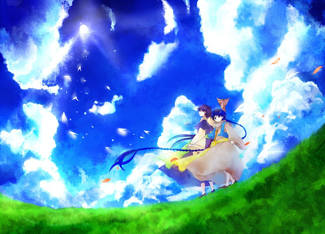 judal aladdin Magi the labyrinth of magic anime male boy mage staff grass land blue sky clouds konochan  konochan  hd wallpaper desktop pc background a97