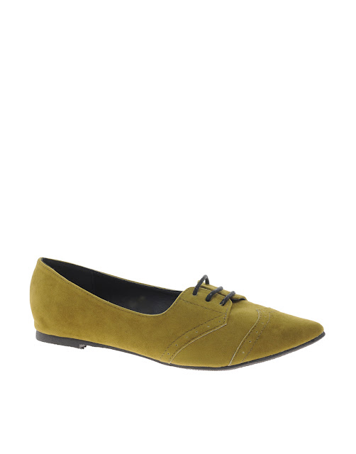olive pointed flat shoes
