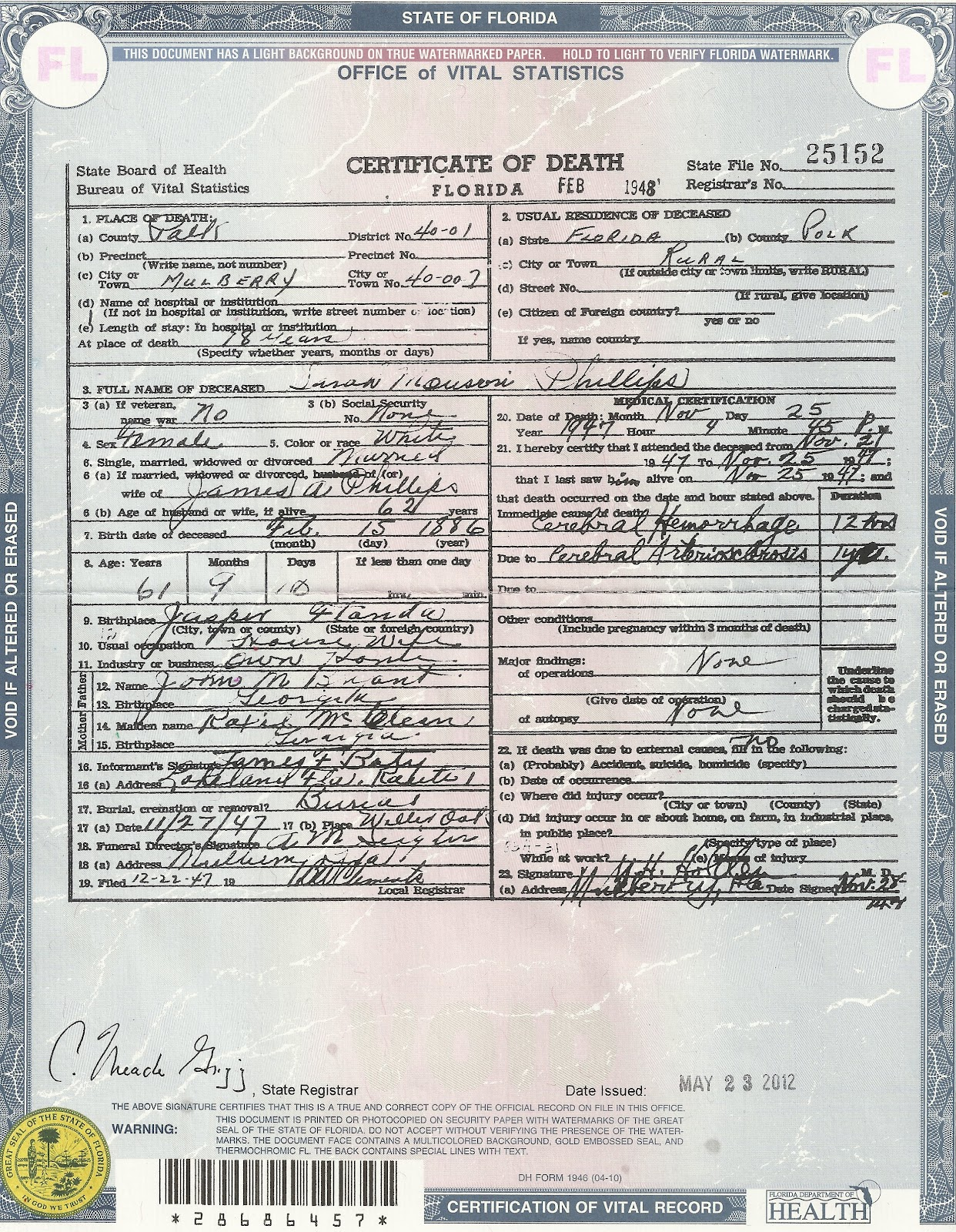 Salabencher death certificates for various family members from death certificates for various family members from the state of florida aiddatafo Choice Image