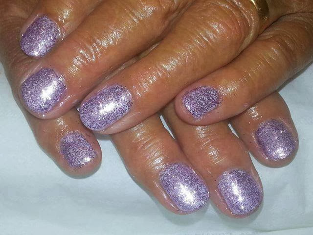 Led polish with purple sprinkled glitz nails art design