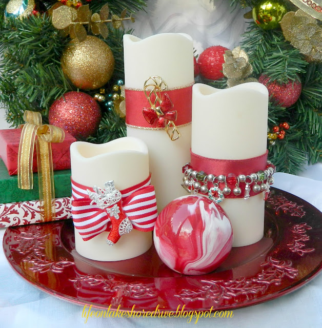 Decorate Candles with Christmas Jewelry
