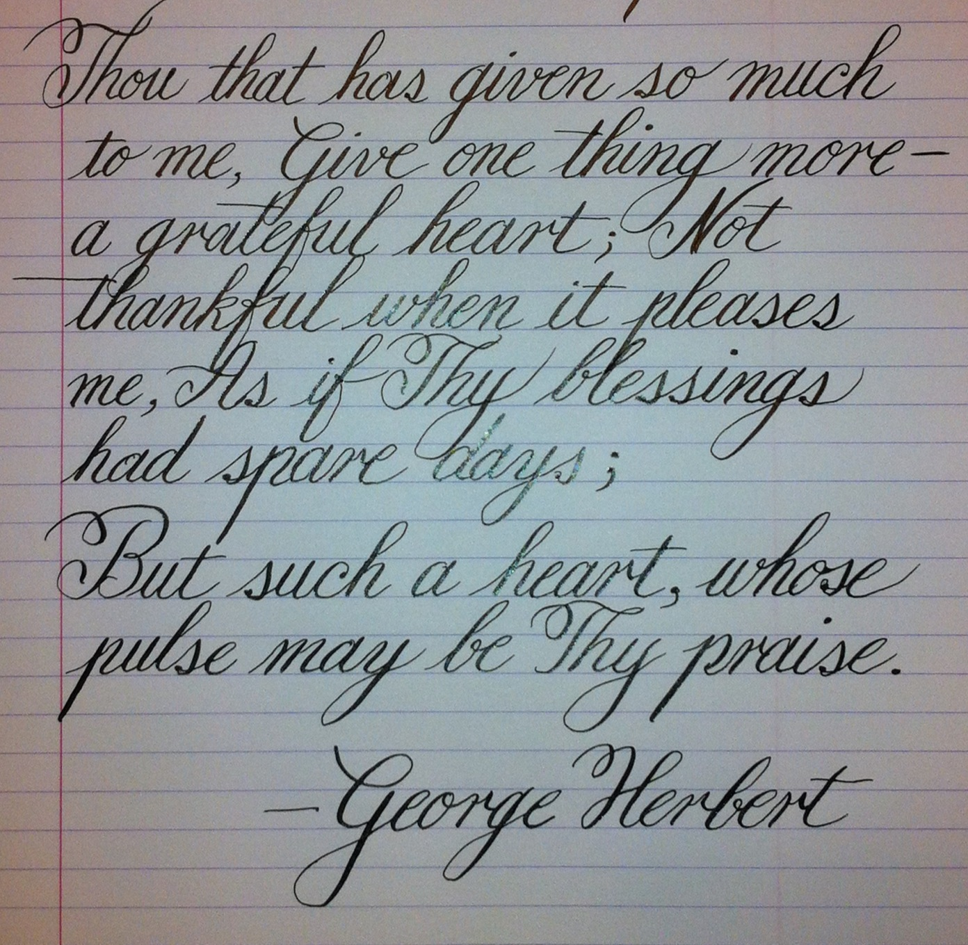 Writing by hand george herbert on thanksgiving Handwriting calligraphy