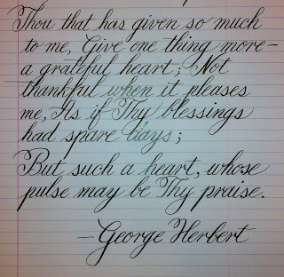 Writing By Hand George Herbert On Thanksgiving