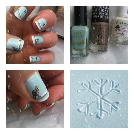 collage of nail products and robins on a snowy fence
