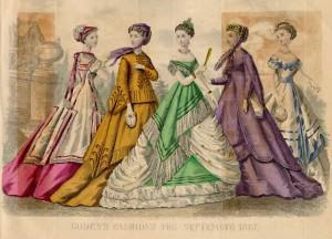 an illustration of fashionable women from Godey's Lady's Book magazine