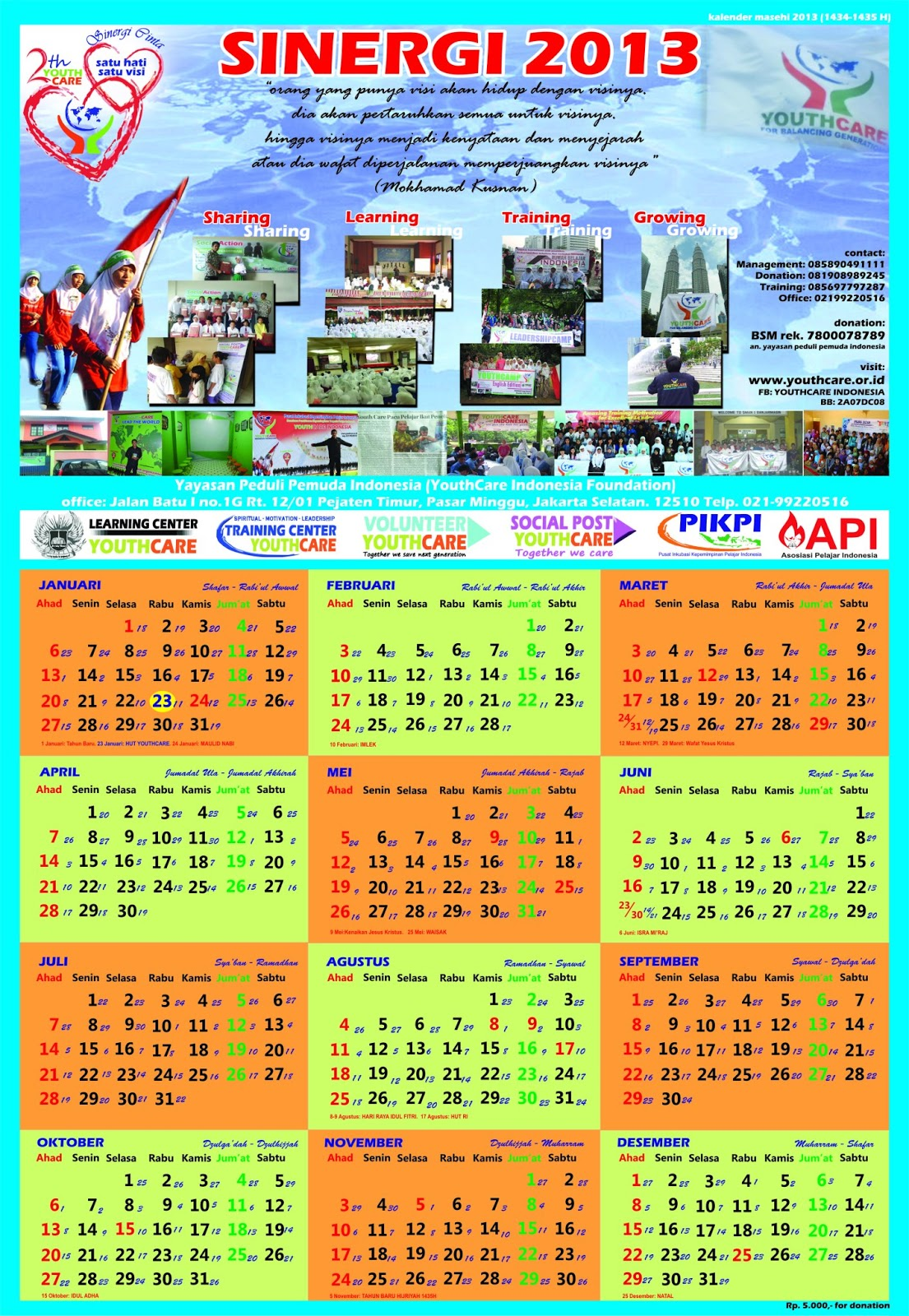 youthcare mencetak ribuan kalender sinergi 2013 sebuah kalender masehi