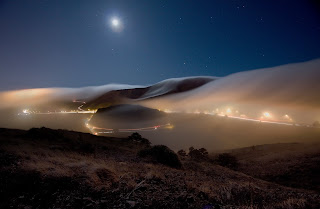 Landscape Night Evening Sky Stars Moon Roads Fog HD Wallpaper