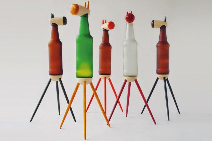 Botellas de Vidrio Recicladas, Lamparas de Mesa con Diseños Animales