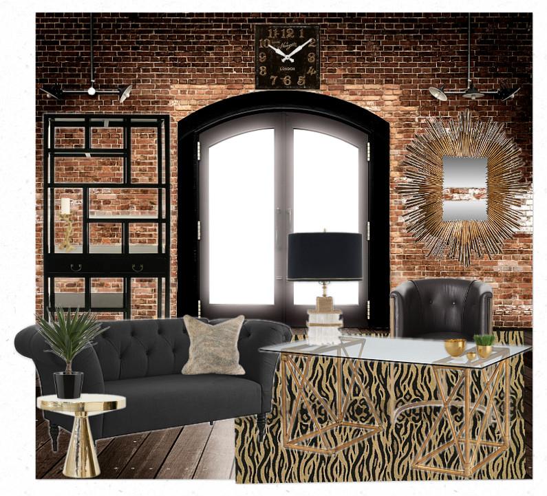 Denise briant interiors industrial glam office for Glam interior design