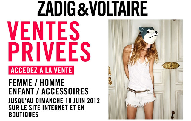 Ventes privées Zadig et Voltaire sur le site internet et en boutiques