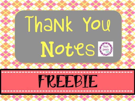 teach speech 365  thank you notes freebie