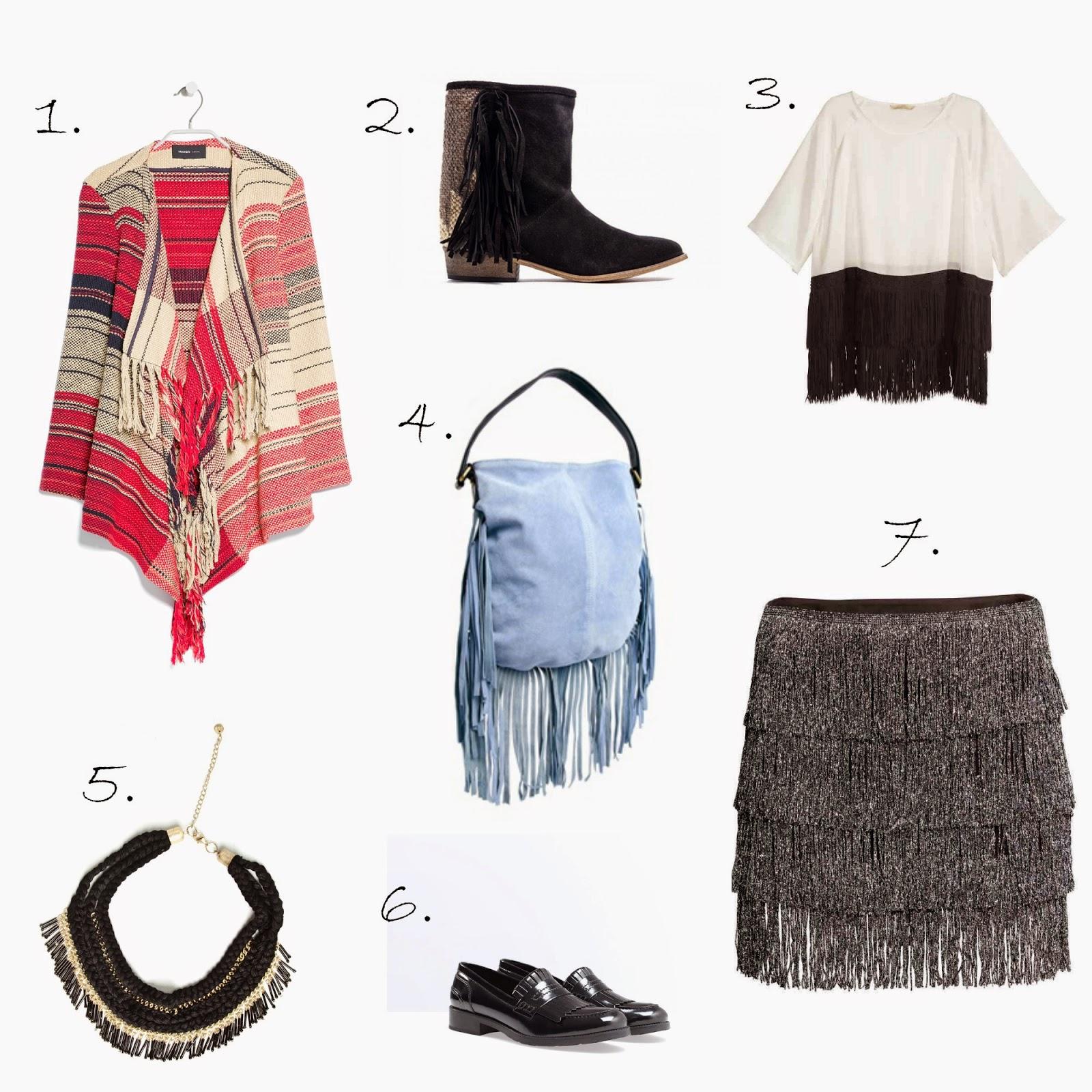 poncho capa botas bolso falda collar camiseta mocasines de tendencia flecos para otoño 2014