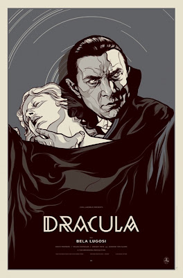 Dracula Screen the Metallic Ink Black and White Variant Print by Martin Ansin