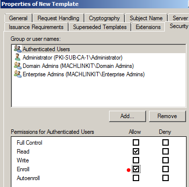 My tech blog pki public key infrastructure with adcs part 8 web note authenticated users includes all user accounts and computer accounts that have been authenticated by a domain controller so these permissions apply yadclub Image collections