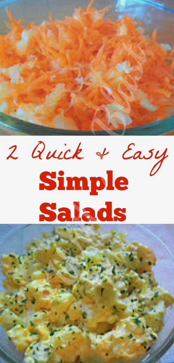 2 Quick and Easy Salads ~ 2 Simple, no-fuss, basic salads for everyday eating #Salads #QuickAndEasyRecipes