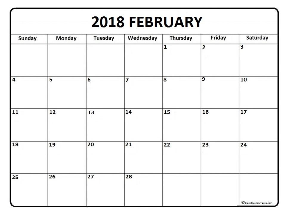 February 2018 Printable Calendar, February 2018 Blank Calendar, February  2018 Calendar Template, February