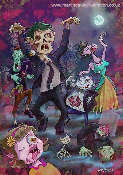 Cartoon Zombie Party – digital art artist Martin Davey