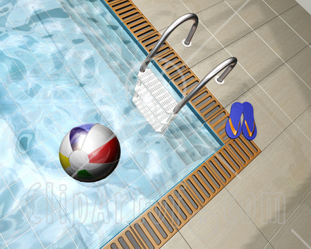 22502 Clipart Illustration Of A Pair Of Flip Flops And A Ladder At The Edge Of A Swimming Pool With A Colorful Beach Ball Floating On The Water I told you Wonder Woman was a cheap hussy! The giving blokes of Playboy, ...