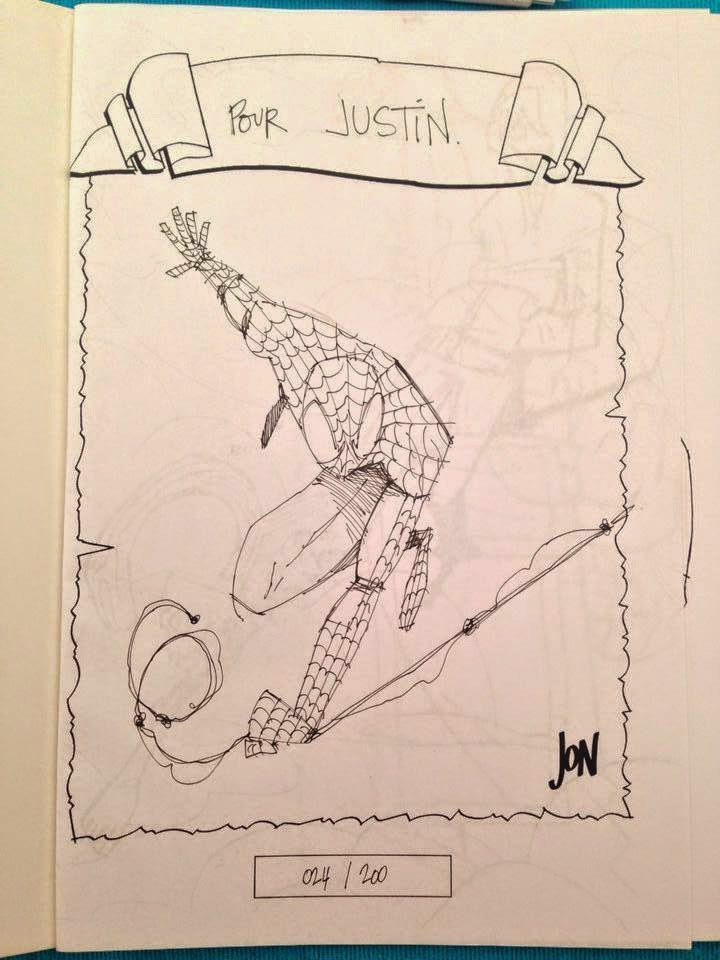 jonathan jon lankry 2D artist animation comic book animated sketchbook 2014 dedicace spider-man spiderman peter parker marvel
