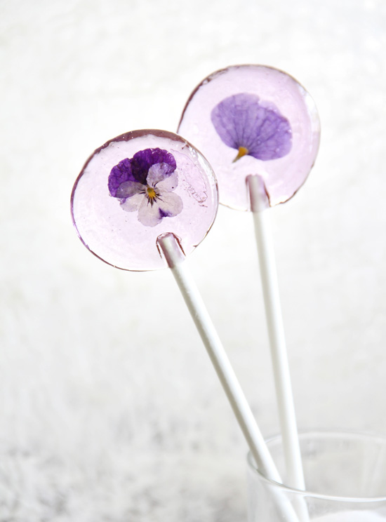 recipe, spring, edible flowers, lollipop