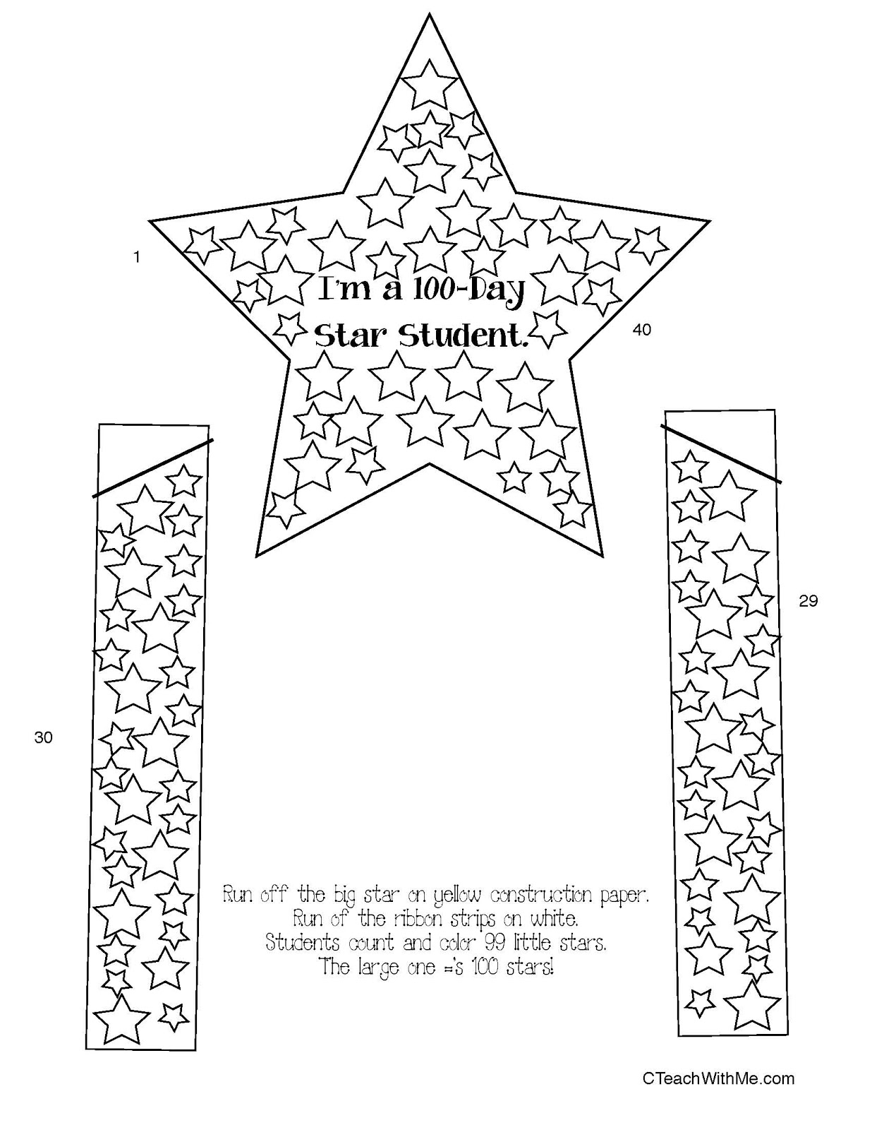 100 Day Star Badge Classroom Freebies