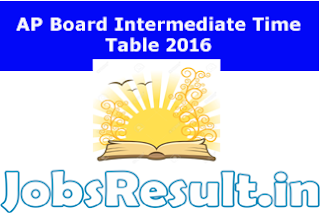 AP Board Intermediate Time Table 2016
