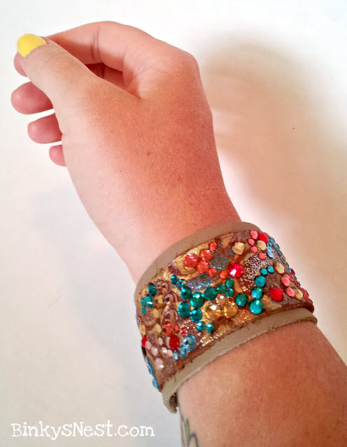 Binky's Nest: Leather and Swarovski Crystal Cuff Bracelet.  Handmade & One-of-a-kind
