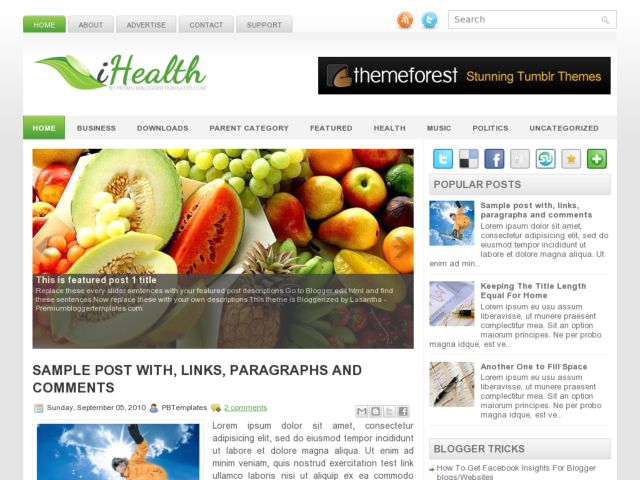 health template for blogger  iHealth - Library Templates Blog | Free Blogger Templates