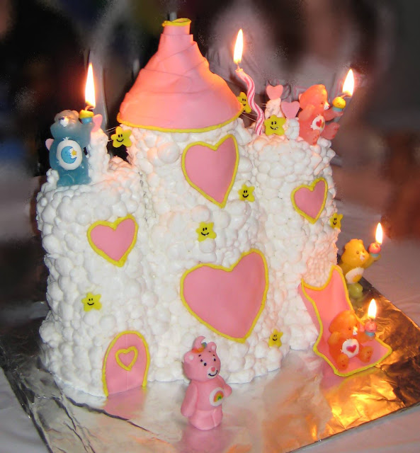 Care Bear Cloud Castle Cake - Care Bear Candles Lit