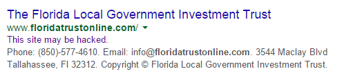 Florida Local Government Trust, Josh Wieder, floridatrustonline.com, Google Malware service
