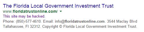 Florida Local Government Trust, Josh Wieder, floridatrustonline.com, Google Malware service
