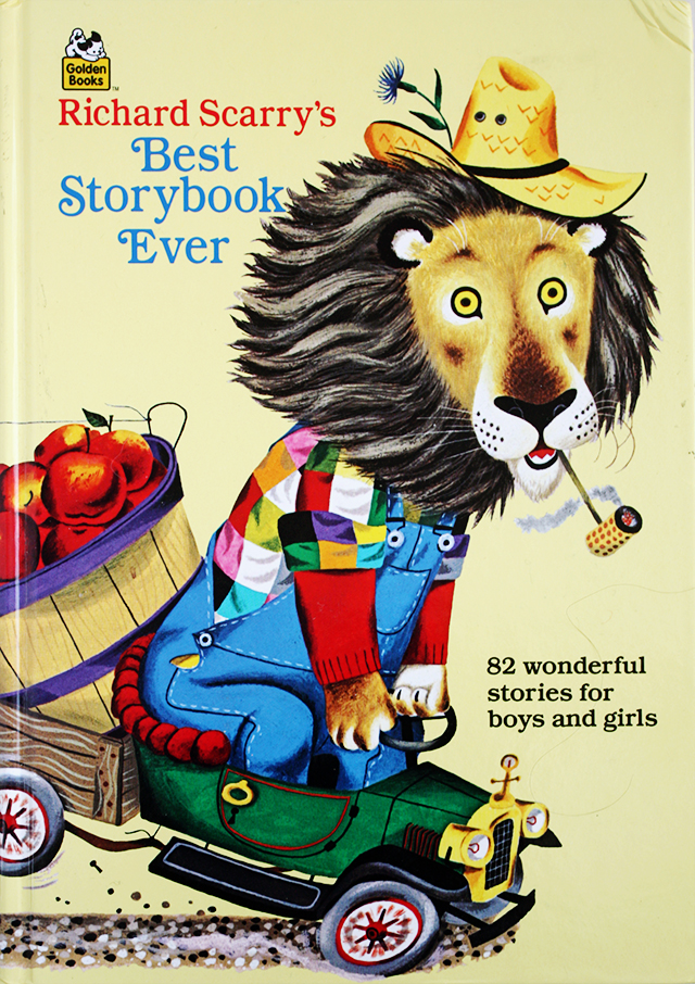 richard scarry's best storybook ever - lion on small car with apple cart