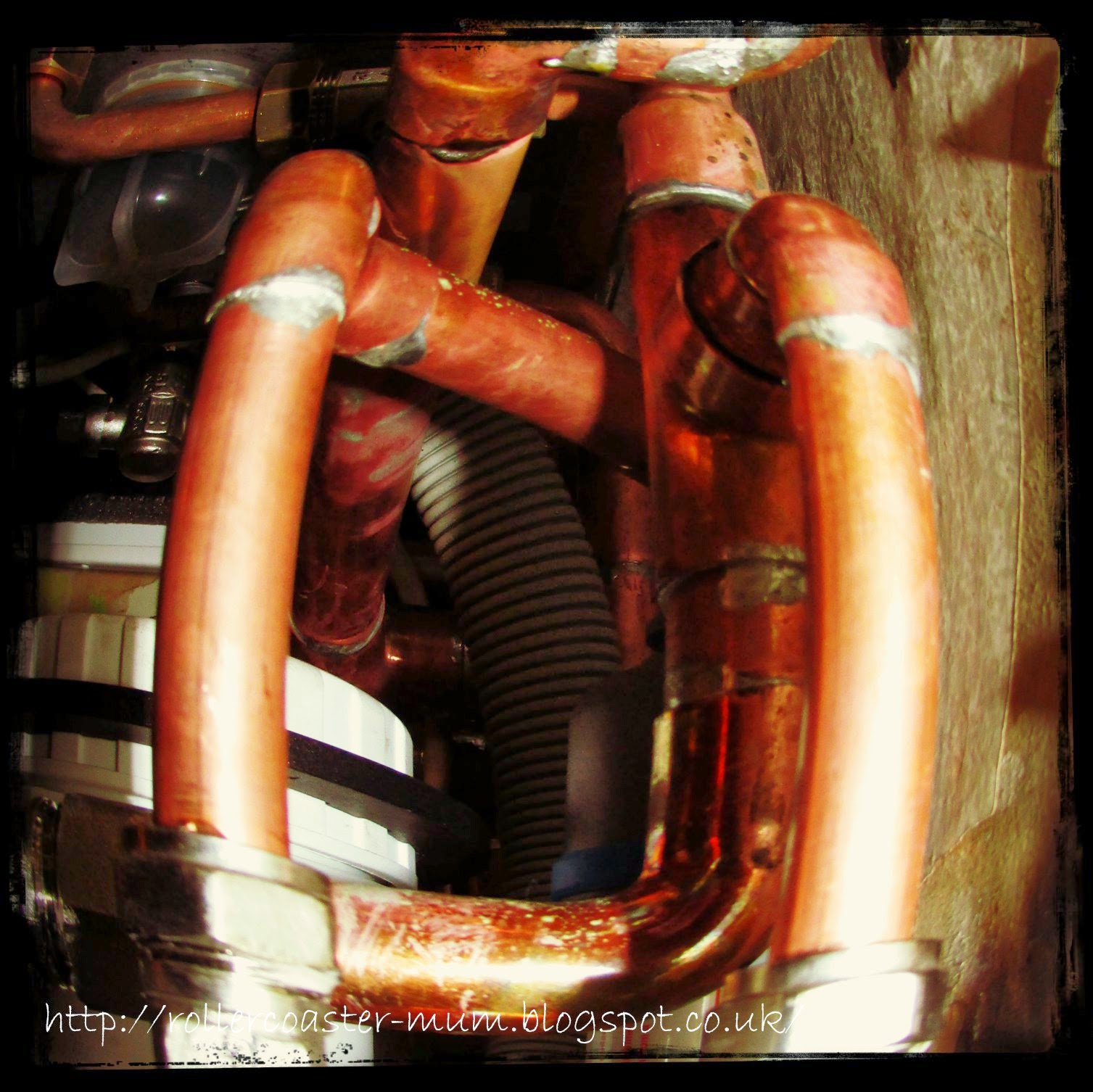 copper pipework on boiler