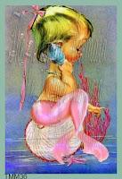 merbaby baby mermaid playing on her shell phone by vintagemermaidsfabricblocks.com