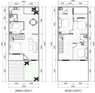 denah rumah minimalis 2 lantai autocad