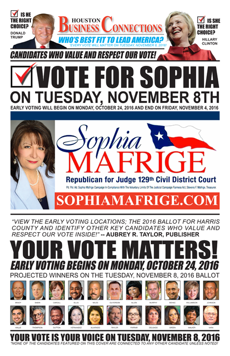 SOPHIA MAFRIGE VALUES OUR VOTE, SUPPORT AND COMMUNITY!