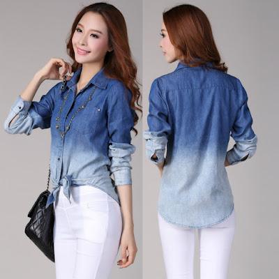 Model Kemeja Jeans Wanita Dual Warna