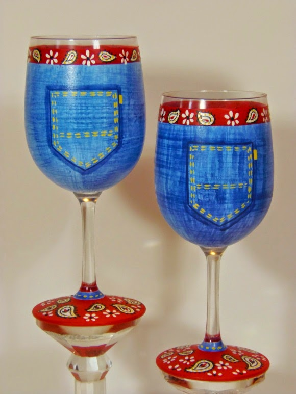 Blue Jean Bandana Hand Painted Wine Glasses - Kudos Kitchen by Renee