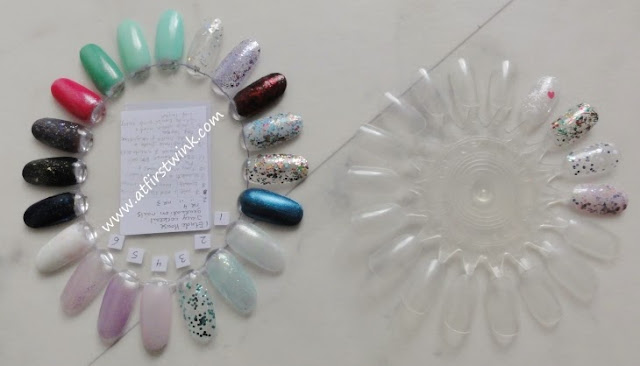 comparison of two nail polish display wheels sold on eBay.