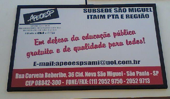 Apeoesp Subsede São Miguel/Itaim