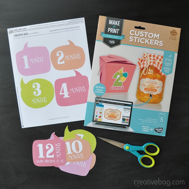 pretty packaging for baby and free downloads for baby's first year photo stickers | Creative Bag