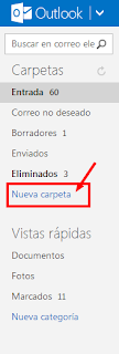 como crear carpetas en Outlook